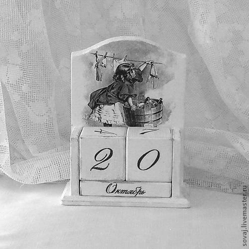 """Календари ручной работы. Ярмарка Мастеров - ручная работа. Купить Вечный календарь шебби шик монохром """" Мамина помощница"""". Handmade."""