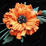 Украшения handmade. Livemaster - original item Leather flowers. Brooch RED POPPY. Genuine leather and suede.. Handmade.