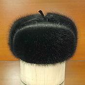 Аксессуары handmade. Livemaster - original item Ushanka mens fur muskrat and leather. Color black. Handmade.