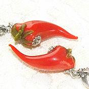 Украшения handmade. Livemaster - original item Peppercorns - burning earrings lampwork. Handmade.