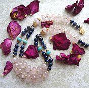 """Украшения ручной работы. Ярмарка Мастеров - ручная работа Колье """"Розовая лазурь"""" (розовый кварц, лазурит, амазонит). Handmade."""