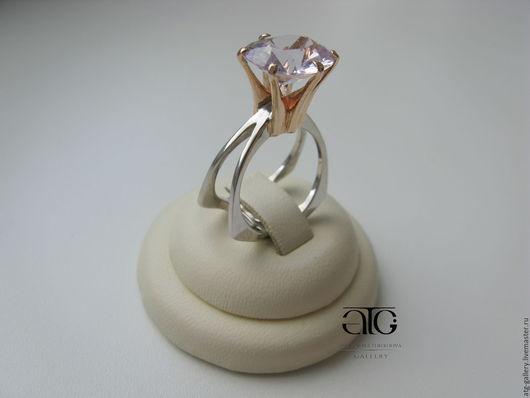 Стильное золотое кольцо с роскошным аметистом бриллиантовой огранки!