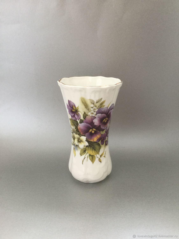 Винтаж: Высокая ваза с изображением фиалок и роз, пиона, Предметы интерьера винтажные, Лондон,  Фото №1
