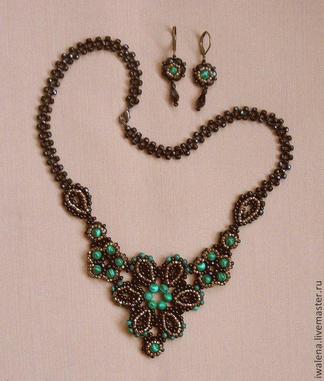 Jewelry Sets handmade. Livemaster - handmade. Buy summer evening.Handmade, designer jewelry, malachite earrings, beads, beads glass
