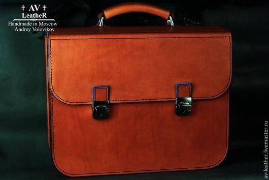 """Мужские сумки ручной работы. Ярмарка Мастеров - ручная работа. Купить Кожаный портфель  """"Egoiste """". Handmade. Рыжий"""
