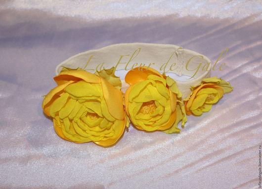 """Заколки ручной работы. Ярмарка Мастеров - ручная работа. Купить «Три розочки для принцессы» «Three little roses"""". Handmade. Желтый"""