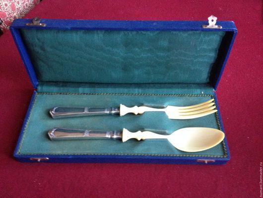 Винтажная посуда. Ярмарка Мастеров - ручная работа. Купить Старинный серебряный прибор для салата. Handmade. Тёмно-синий, дизайн, салат