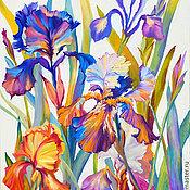 Картины и панно handmade. Livemaster - original item painting with irises