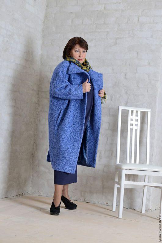 Большие размеры ручной работы. Ярмарка Мастеров - ручная работа. Купить Пальто из шерстяного букле. Handmade. Оливковый, шерсть 100%
