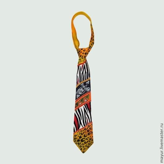 Галстук `Африканский` с звериной расцветкой и африканскими узорами