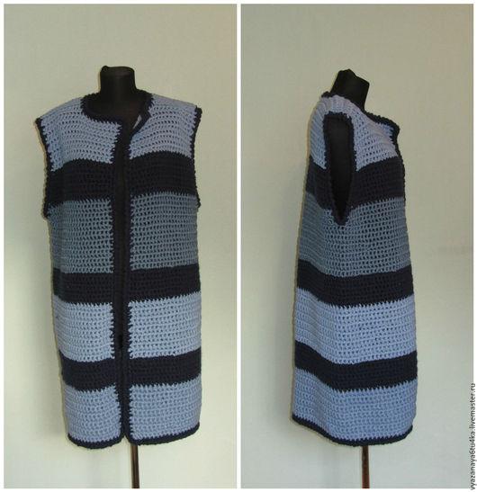 """Верхняя одежда ручной работы. Ярмарка Мастеров - ручная работа. Купить Пальто без рукавов """" Джинса """". Handmade."""