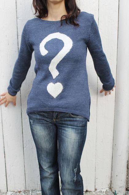 Кофты и свитера ручной работы. Ярмарка Мастеров - ручная работа. Купить Свитер женский вязаный полушерсть Вопрос синий с белым. Handmade.