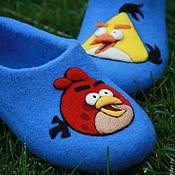"""Обувь ручной работы. Ярмарка Мастеров - ручная работа Тапочки женские валяные """"Angry Birds"""". Handmade."""