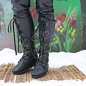 Обувь ручной работы handmade. Livemaster - original item Winter Boots Boots lace up leather Fur lambskin Black. Handmade.