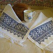 """Русский стиль handmade. Livemaster - original item Рушник """"Синие ромбы"""" с обережной вышивкой крестом. Handmade."""