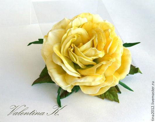 """Цветы ручной работы. Ярмарка Мастеров - ручная работа. Купить Роза """"Лимонная"""". Handmade. Лимонный, брошь-цветок, подарок"""