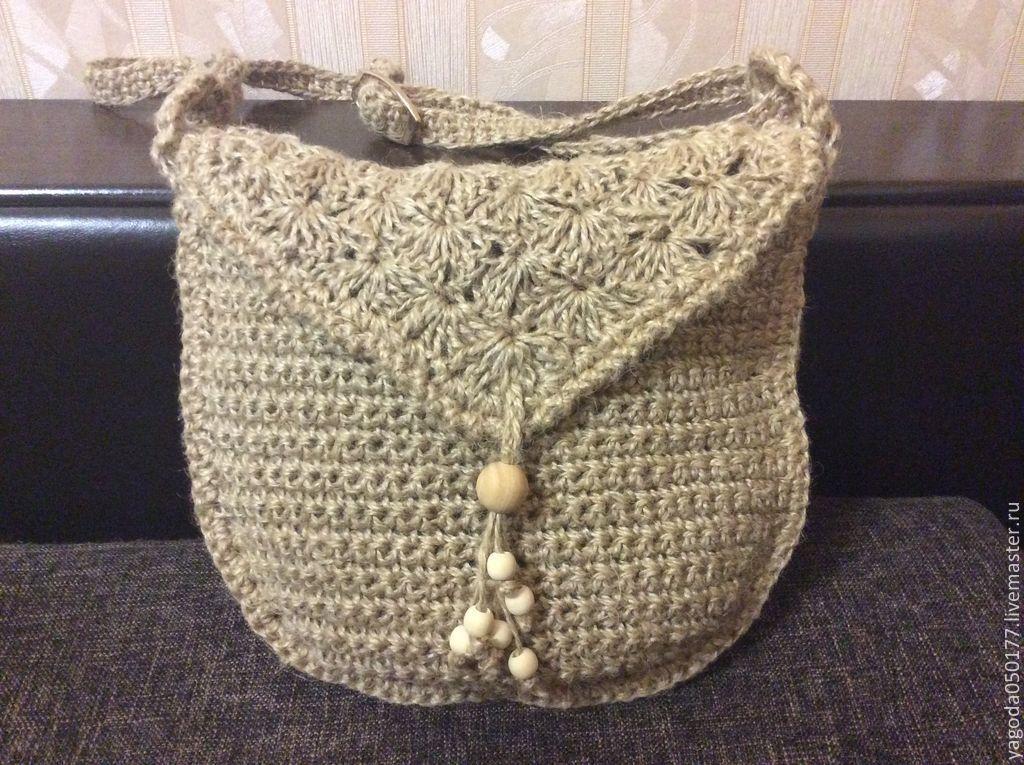 Bag - bag knitted from jute, Bucketbag, Kaluga,  Фото №1