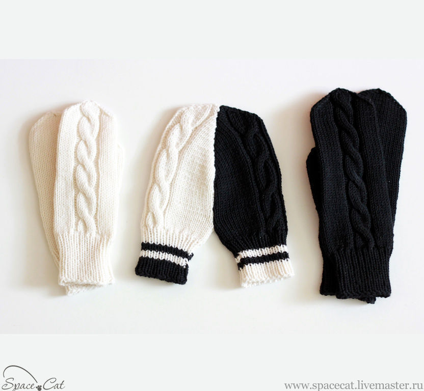 5 PCs. Mittens for lovers' two halves ' knitted black and white, Mittens, Orenburg,  Фото №1