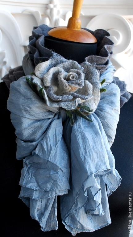 Шарфы и шарфики ручной работы. Ярмарка Мастеров - ручная работа. Купить Валяный шарф серый с розой. Handmade. Серый