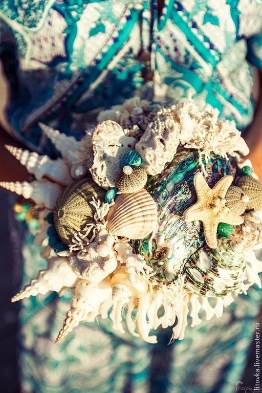 """Свадебные цветы ручной работы. Ярмарка Мастеров - ручная работа. Купить Букет из ракушек """"Бирюза"""". Handmade. Букет, морская волна"""