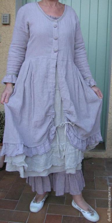 Большие размеры ручной работы. Ярмарка Мастеров - ручная работа. Купить Пальто  от Бохемэ  для пышных дам. Handmade. Голубой, лен