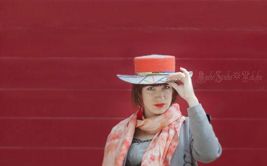 Шляпы ручной работы. Ярмарка Мастеров - ручная работа. Купить Шляпа Канотье Ш_15013. Handmade. Разноцветный, шляпка, теплая шляпа