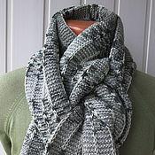 Аксессуары ручной работы. Ярмарка Мастеров - ручная работа Шарф, просто серый рябенький шарф, но длинный, широкий и тёплый. Handmade.