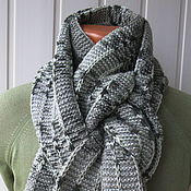 Аксессуары ручной работы. Ярмарка Мастеров - ручная работа Шарф,просто серый рябенький шарф,но кашемировый длинный широкий тёплый. Handmade.