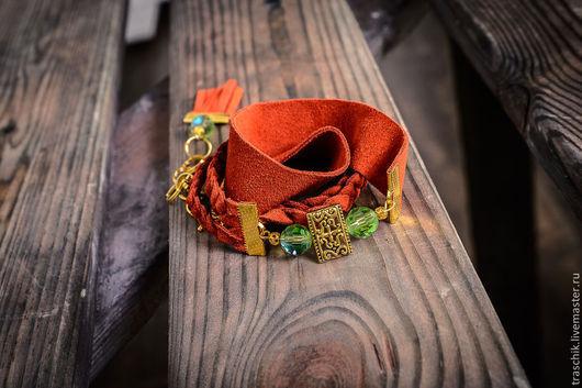 """Браслеты ручной работы. Ярмарка Мастеров - ручная работа. Купить Браслет """"Оранж+крыжовник"""". Handmade. Рыжий, браслет из кожи, замшевая сумка"""