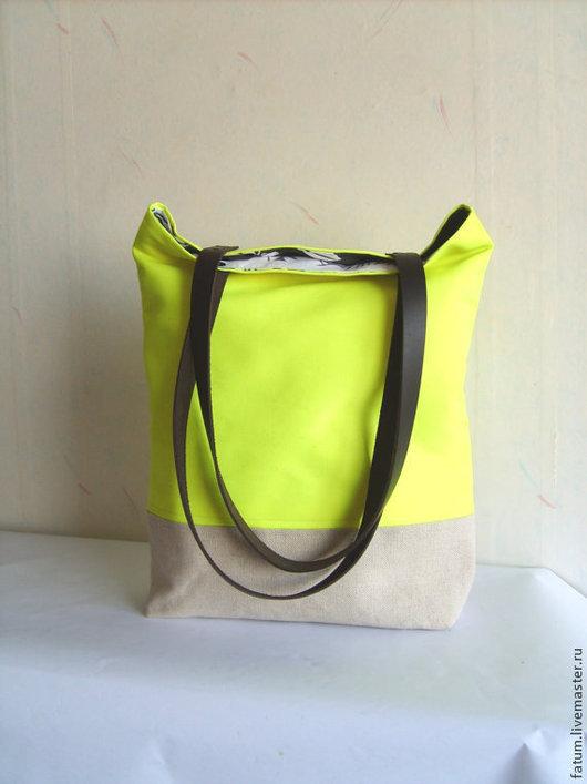 Женские сумки ручной работы. Ярмарка Мастеров - ручная работа. Купить Сумка тоте из льна Желтый неон. Handmade. Бежевый