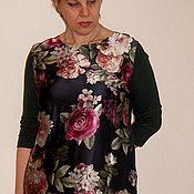 Одежда ручной работы. Ярмарка Мастеров - ручная работа Платье прямое комбинированное шелк+трикотаж. Handmade.