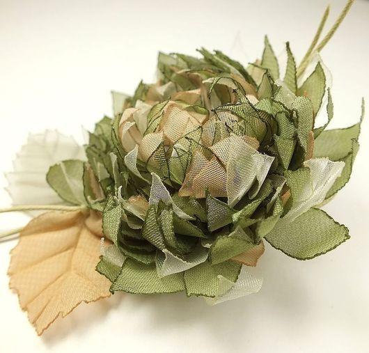 Броши ручной работы. Ярмарка Мастеров - ручная работа. Купить Ветреная Олива. Брошь - цветок ручной работы из ткани. Handmade.