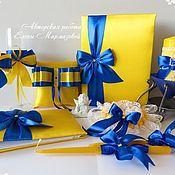 Свадебный салон ручной работы. Ярмарка Мастеров - ручная работа Свадебный набор жёлто-синий. Handmade.