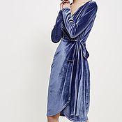 Одежда ручной работы. Ярмарка Мастеров - ручная работа Платье из бархата «Голубая мечта». Handmade.