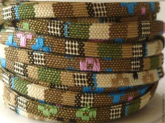 Для украшений ручной работы. Ярмарка Мастеров - ручная работа. Купить Плоский текстильный шнур в стиле этно 5х2мм. Handmade.