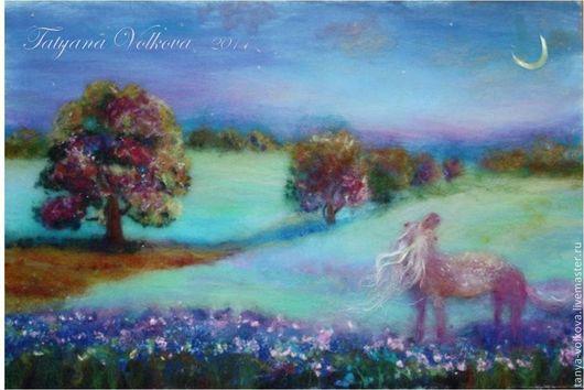 """Пейзаж ручной работы. Ярмарка Мастеров - ручная работа. Купить """"Все девочки мечтают"""" картина из шерсти. Handmade. лето, картина"""