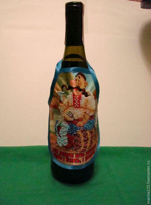 Праздничная атрибутика ручной работы. Ярмарка Мастеров - ручная работа. Купить Фартук на бутылку(ручная работа). Handmade. Белый, Вышивка бисером