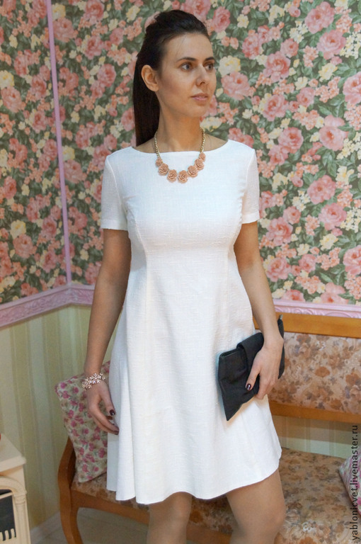 Платья ручной работы. Ярмарка Мастеров - ручная работа. Купить платье с открытой спиной из итальянской хлопковой ткани. Handmade. Белый