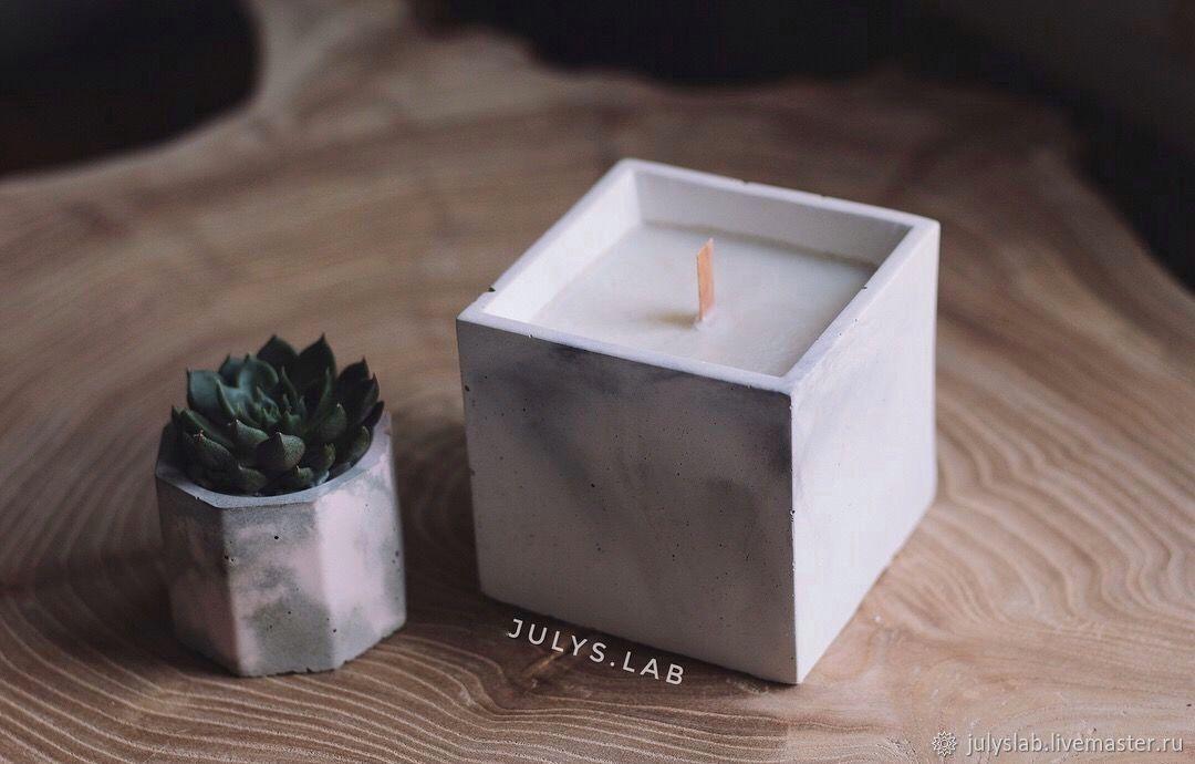 Соевая свеча с древесным фителем в бетоне Куб, Свечи, Санкт-Петербург,  Фото №1