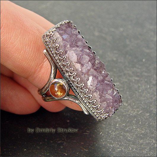 Кольца ручной работы. Ярмарка Мастеров - ручная работа. Купить Перстень с аметистом, цитрином и перидотом. Handmade. Перстень, зеленый, щетка
