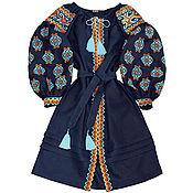 """Одежда handmade. Livemaster - original item Синее платье-вышиванка """"Трипольськое Солнце"""". Handmade."""