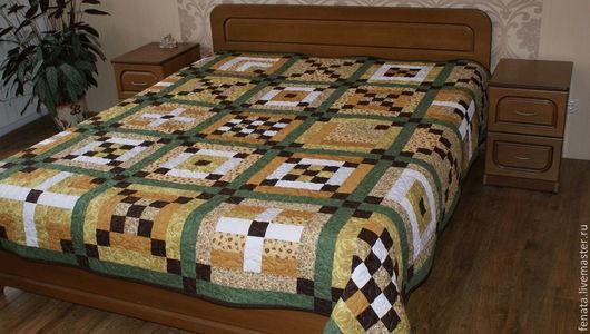Текстиль, ковры ручной работы. Ярмарка Мастеров - ручная работа. Купить Лоскутное покрывало. Handmade. Бежевый, лоскутный плед