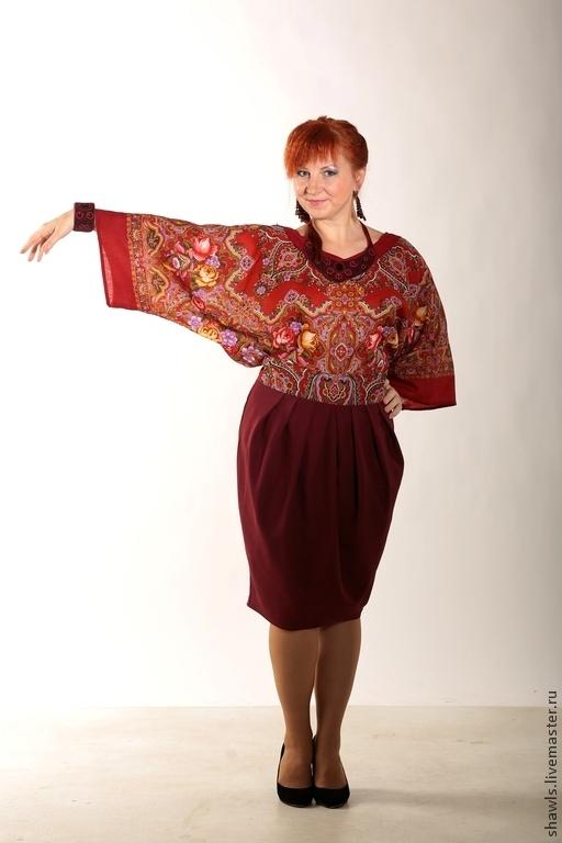 Костюмы ручной работы. Ярмарка Мастеров - ручная работа. Купить Комплект юбка и кофта Городской романс из павловопосадского платка. Handmade.