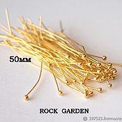 Материалы для творчества handmade. Livemaster - original item Pins 0.5 mm Golden (10pcs) 50mm (110). Handmade.