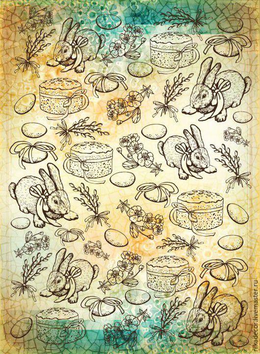 Декупаж и роспись ручной работы. Ярмарка Мастеров - ручная работа. Купить Пасхальные штрихи (CPD0543) -  рисовая бумага, А3. Handmade.