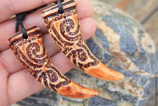 Для украшений ручной работы. Ярмарка Мастеров - ручная работа. Купить Подвеска Коготь, имитация резной кости яка, 65 мм. Handmade.