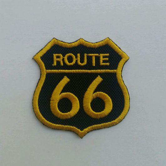 Автомобильные ручной работы. Ярмарка Мастеров - ручная работа. Купить Route 66 шеврон. Handmade. Байкер, нашивка, мото, полиэстер