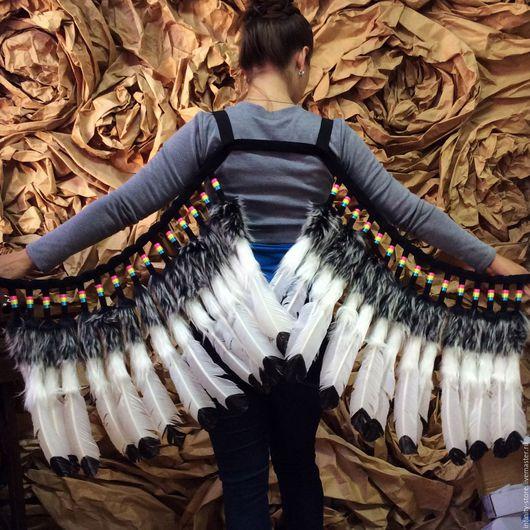 Этническая одежда ручной работы. Ярмарка Мастеров - ручная работа. Купить Индейские крылья. Handmade. Чёрно-белый, перья, мех