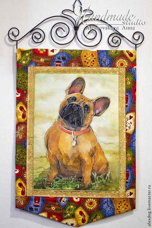 """Животные ручной работы. Ярмарка Мастеров - ручная работа. Купить Панно - """"Французский бульдог"""". Handmade. Оранжевый, собака, порода, панно"""