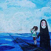 """Канцелярские товары ручной работы. Ярмарка Мастеров - ручная работа Замшевая обложка для паспорта """"Унесенные призраками"""". Handmade."""